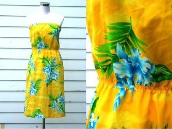 SALE . Vintage . CANARY . yellow . Tropical . floral . Strapless . sundress