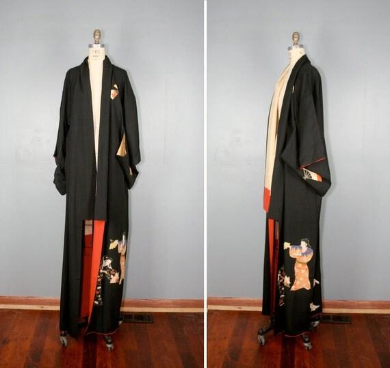 vintage . silk . kimono . DANCING GEISHA . antique . robe