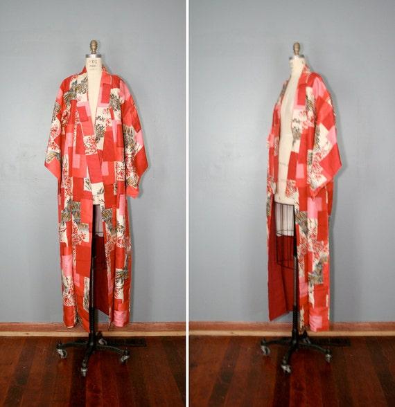 vintage . silk . kimono . CANDYLAND . cherry . blossom . robe