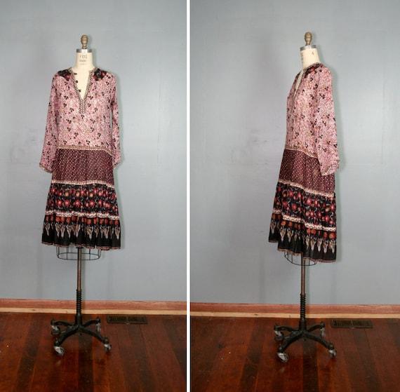 vintage . india . gauze . FESTIVAL . sheer . cotton . hippie . dress