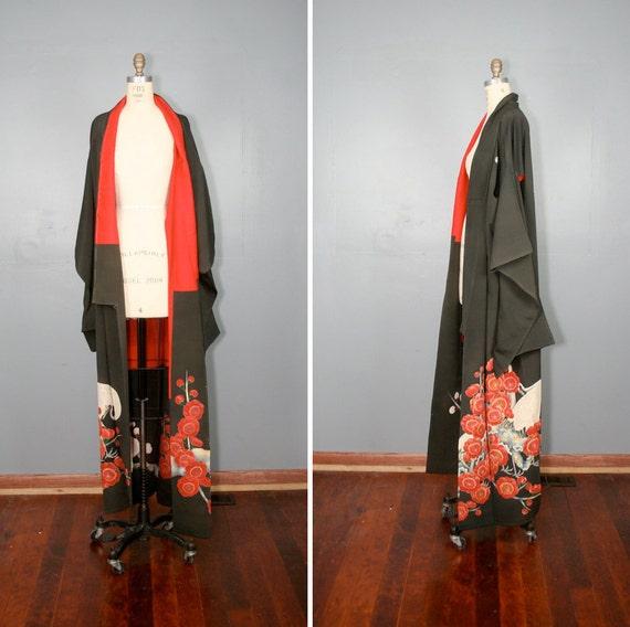 vintage . silk . kimono . BLOOMING CRANE . floral . antique . robe