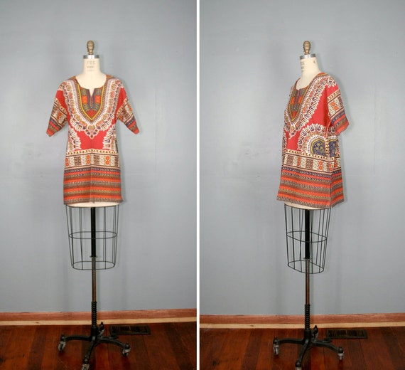 vintage . DASHIKI . 1970s . cotton . hippie . tunic . shirt