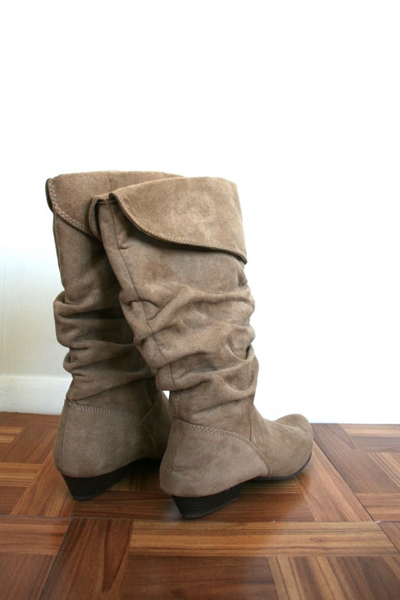 Vintage . brown . Taupe . SUEDE . slouchy . Tall . knee . Boots . SIZE 10