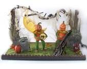 Celebrate Halloween Paper Mache Jack & Veggie Heads Playing Instruments Cemetary Folk Art