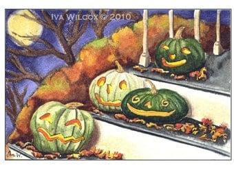 Halloween Night Out - Smiling JOLs PRINT of my original watercolor