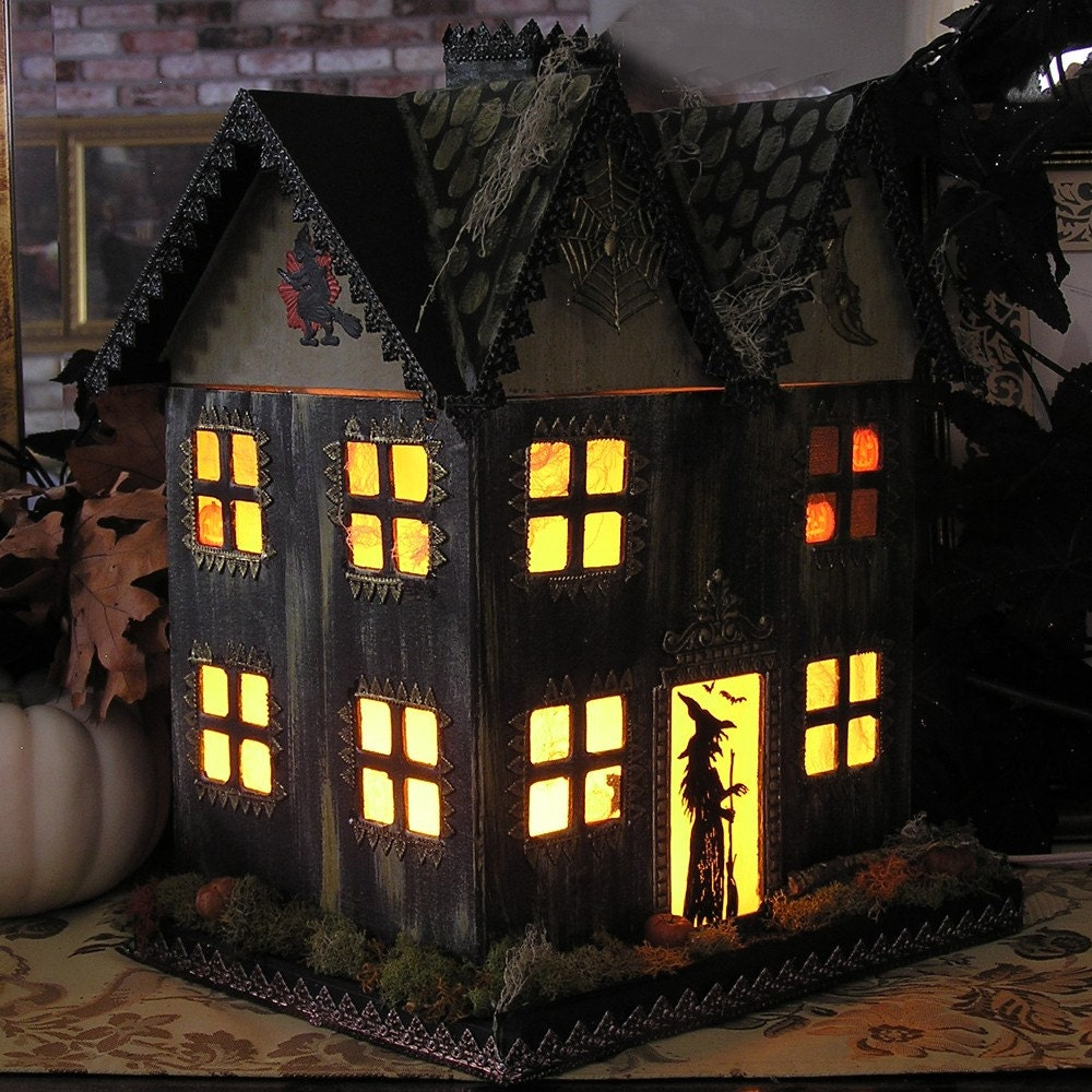 Light Up Haunted House Paper Mache Halloween Folk Art