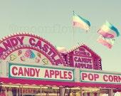 Candy Apples 6x6 on 8x10 Photograph. Whimsical. Nursery Decor. Feminine. Girlie. Cute. Pink. Carnival. Aqua. Blue. Summer.