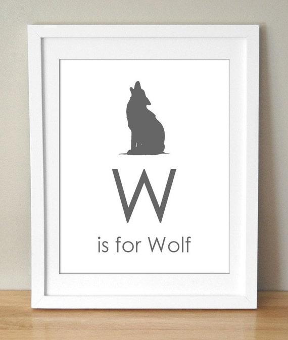 W is for Wolf 8x10 Art Print Personalized Alphabet Animal Baby Kids Nursery Decor
