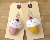 Leather Cupcake Brooch Pink or Yellow