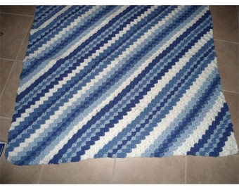 Blue diagional stripe afghan