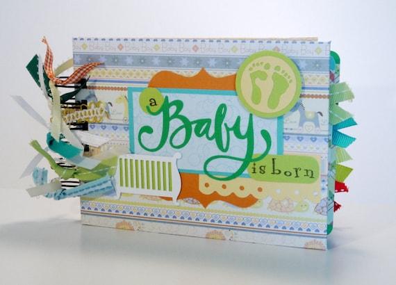 Baby Scrapbook Mini Album Premade, A Baby Is Born, Baby Shower Gift by ScrapbookGallery