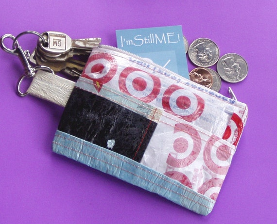 RESERVED 4 JEN ON Target Key chain coin purse card case of fused plastic bags