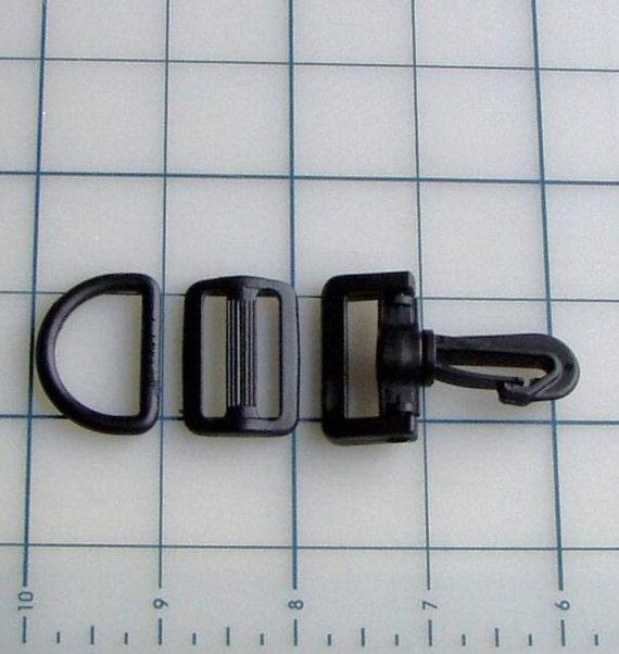 "12 - 1"" Purse Hardware Strap set Black Heavy Duty Plastic Fits 1"" Webbing for Straps on Purses, Bags, Belts, Leashes  etc"
