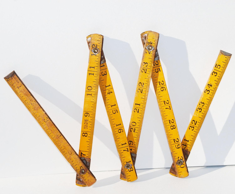 Wooden Folding Yardstick Ruler Mid Century Vintage By