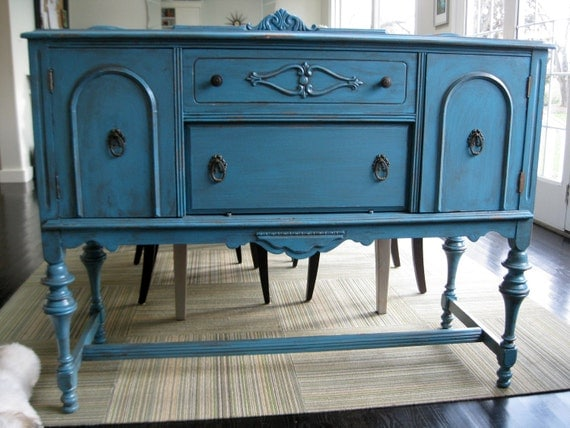 Antique Sideboard Server Buffet Teal Blue Reserved For