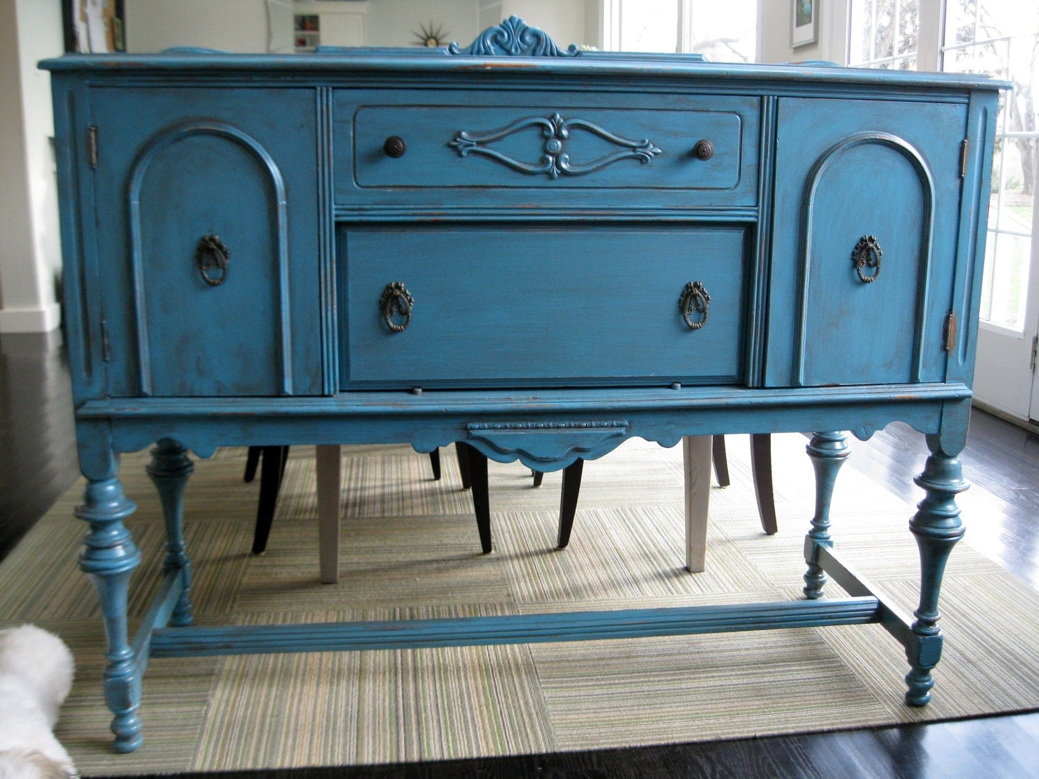 antique sideboard server buffet teal blue by tinysvintage on etsy. Black Bedroom Furniture Sets. Home Design Ideas