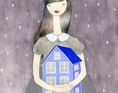 The Dollhouse Utopia original painting\/drawing