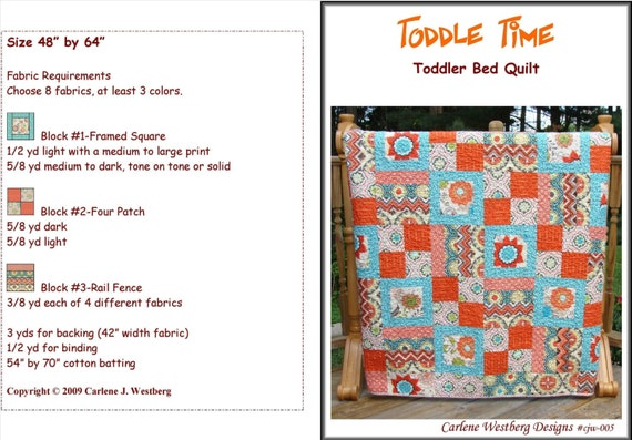 Toddle Time Quilt Pattern Toddler Bed Quilt By CarleneWestberg