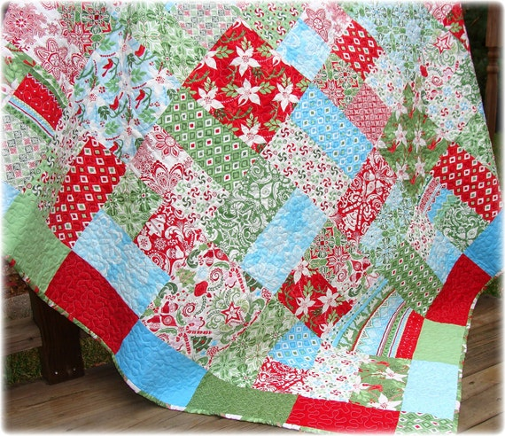 SALE Christmas Quilt Lap Quilt Flurry Holiday