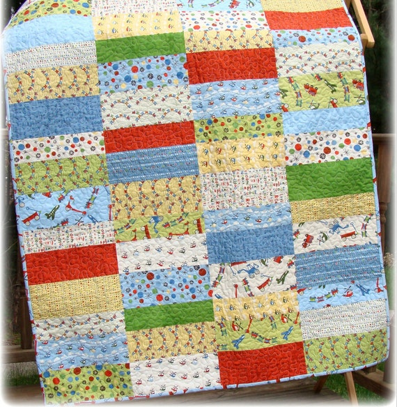 Scoot Baby Boy Quilt CUSTOM Made to Order LAST ONE