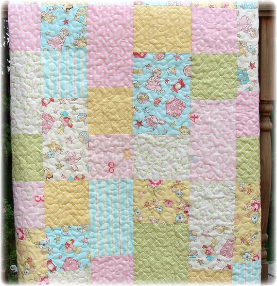 Baby girl quilt with vintage baby fabrics soft baby colors for Retro baby fabric