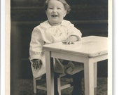 unused Antique postcard RPPC Photograph Vintage darling little girl by school desk