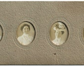 MUST SEE Antique Photo Booth Photos 4 tiny photographs in oval frame Lady in HATS Vintage images