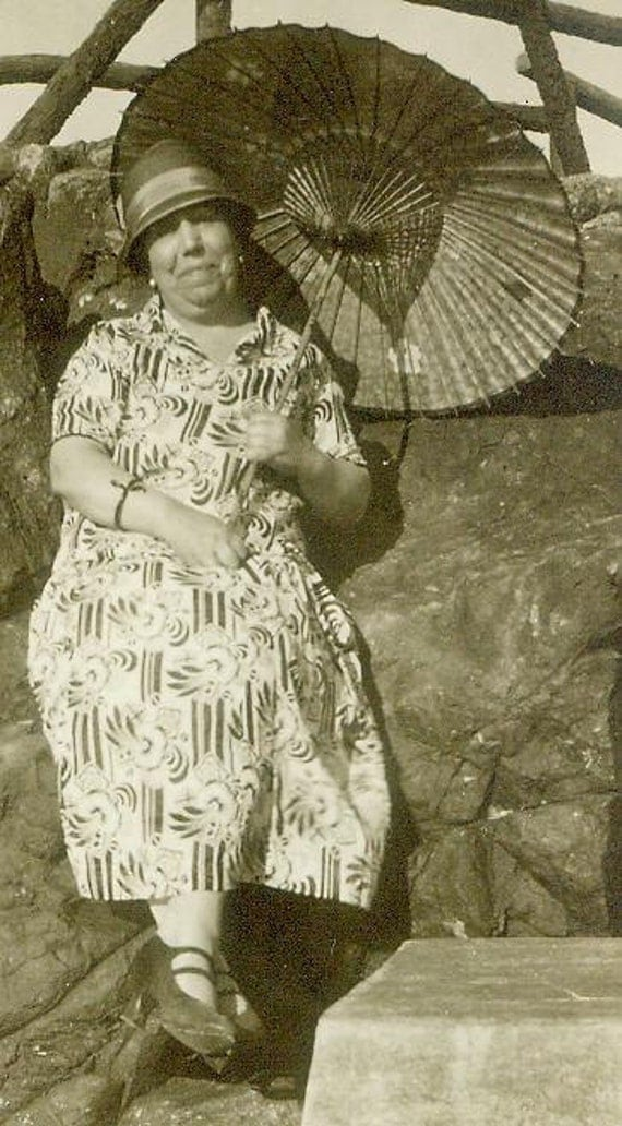 UNUSED Spanish Antique postcard RPPC Photograph Vintage Sepia real people photo lady with parasol
