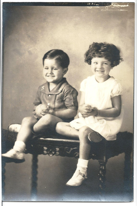 Antique Photo Sister Brother white dress and shoes carved wooden bench Vintage Photograph