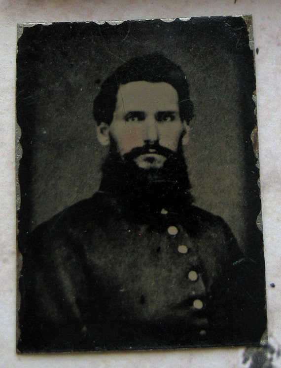 Reserved for Daniel G  Rare 1863 Tiny Antique Tintype Civil War Solder UNION historic hand tinted military war between the states CW1
