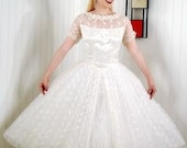 Vintage Wedding Dress 1950s - Large \/ XL - 12-14