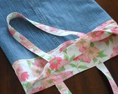 Denim Bag with Vintage Pink Print Cotton, Book Tote, Shopping Bag, Repurposed, Upcycled