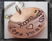 Hand Stamped Key Ring - Personalized Custom Copper Hand Stamped Unisex Keyring