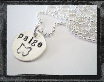 Hand Stamped Sterling Silver Charm Necklace Choose D E S I G N Stamp