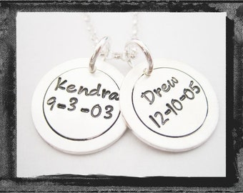 Hand Stamped Charms - Name / Birthdate - Sterling Silver