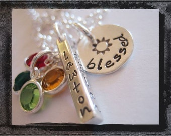 Sterling Silver Keepsake Pendant BAR, DISC and BIRTHSTONE charm Necklace