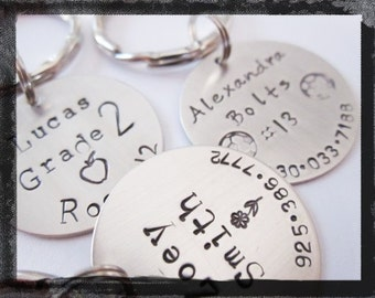 Personalized Hand Stamped Backpack Tag, Lunchbox Tag, or Sports Bag Tag