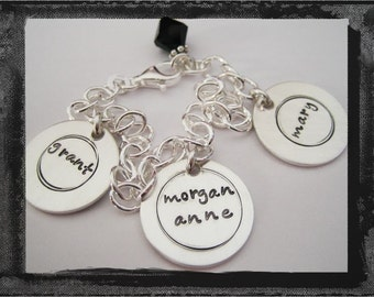 Hand Stamped Sterling Silver 3 DISC CIRCLES BRACELET - Personalized
