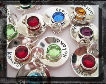 Hand Stamped Charm - Sterling Silver Jewelry - Custom Birthstone Charm 5/8 inch