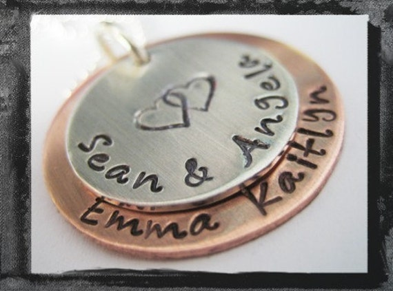 Stacked Sterling/Copper Circles with your FAMILY Names in Custom FONT