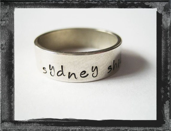 Custom Boutique Personalized Sterling Silver Hand Stamped Memory Ring by LillyEllen
