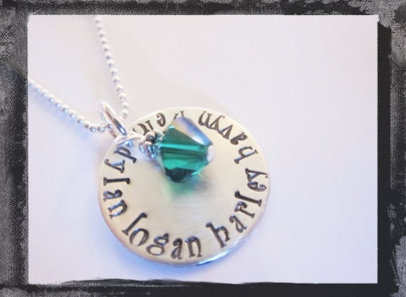 Personalized Necklace - Hand Stamped Jewelry - Sterling Silver - Swarovski Crystal