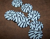 DD -  SALE   Black and White Zebra Printed Acrylic Round Beads