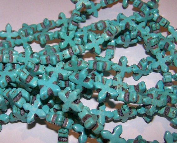 DD- 14mm Dyed Ornate Blue Turquoise Cross Strand