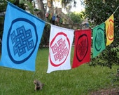 Tibetan Endless Knot Decorative Flags - string of 5