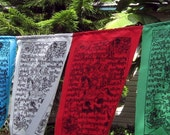 Silk screened Tibetan Prayer Flags - string of 5
