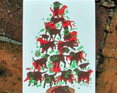 Chocolate Lab Christmas Tree box of 6 silkscreened cards with envelopes
