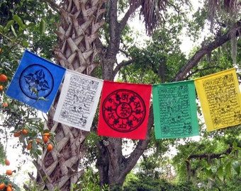 Blessings on the Wind - set of 5 Tibetan Dharma Prayer Flags