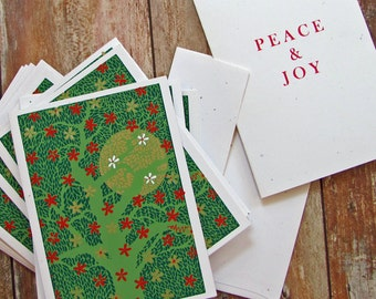 Christmas Flowers Gold Moon  box of 6 silkscreened holiday cards / see BOGO offer!
