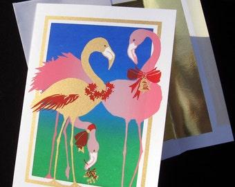 Pink Flamingo Screenprinted Christmas Cards / box of 6